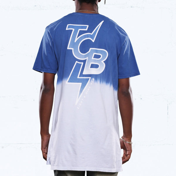 All City Dip Dye Long Line T Shirt French Blue