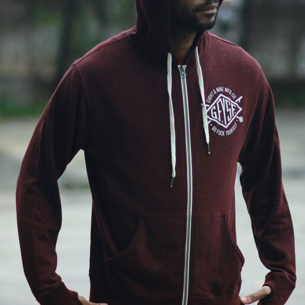 Definition Zip Up Tech Hoodie Maroon