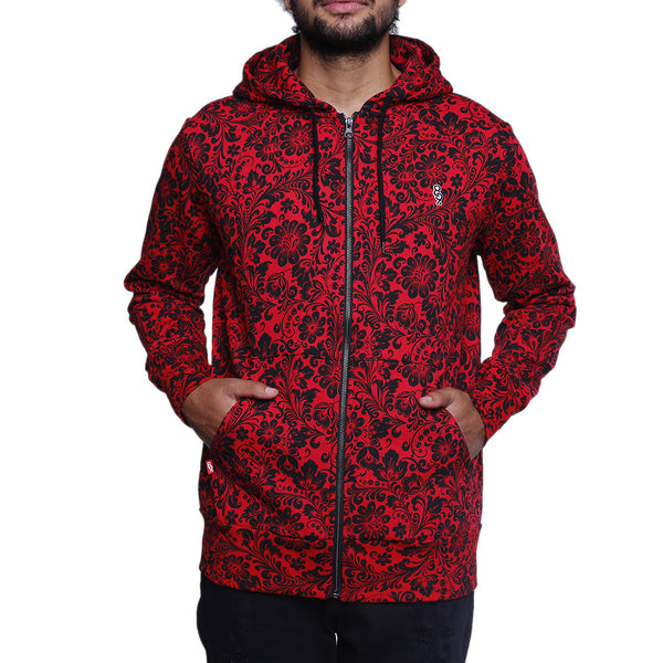 Khoklohoma Zip Up Hooded Sweatshirt Red