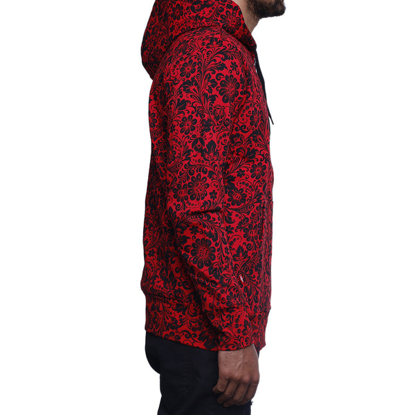 khoklohoma zip up hooded sweatshirt red side