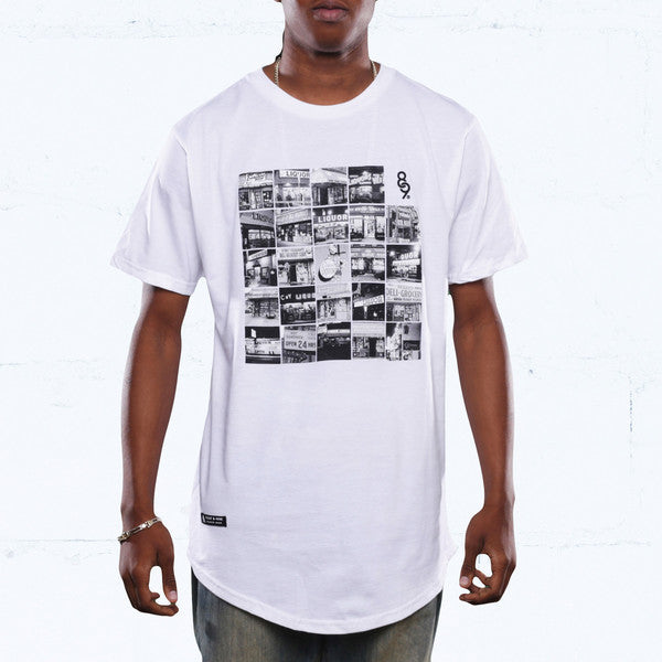 liqour vs bodega block curved hem t shirt white