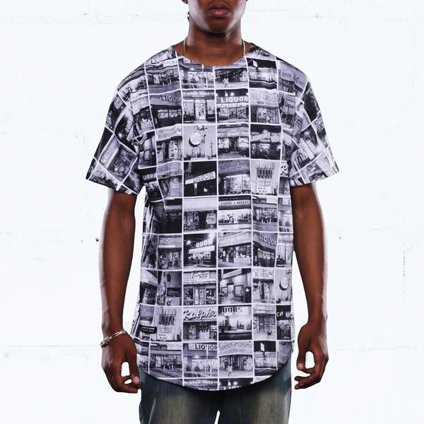 Liquors vs Bodega Grid Curved Hem T Shirt Black