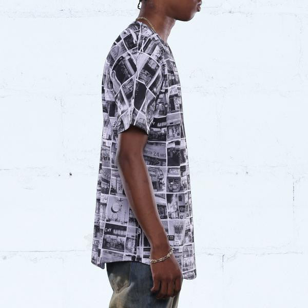 liquor vs bodega grid curved hem t shirt black side
