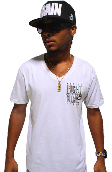Masterminds White V Neck Tee - 2