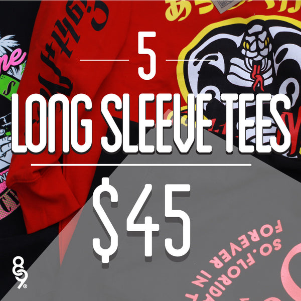 5 Assorted Long Sleeve Tees For $45