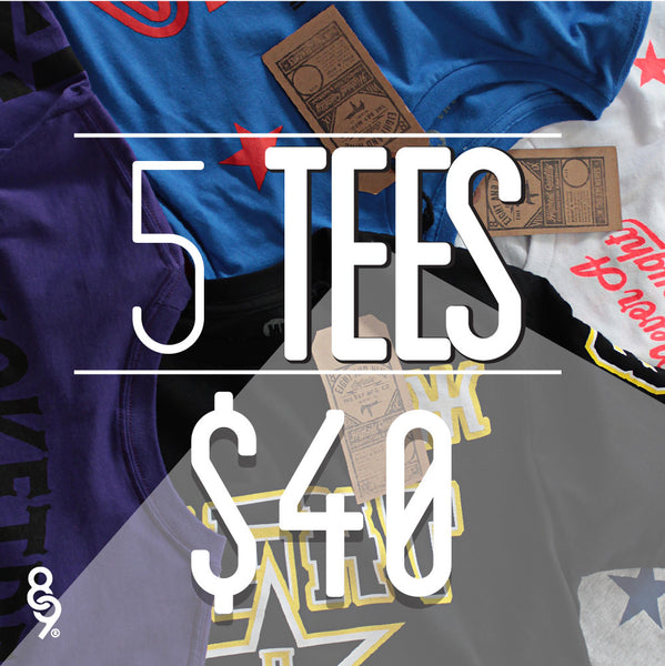 5 Assorted Tees For $40