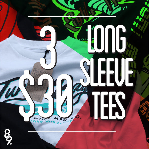 3 Assorted Long Sleeve Tees For $30
