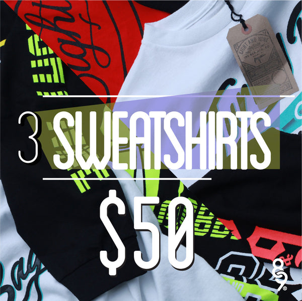 3 Sweatshirts $50 - Assorted