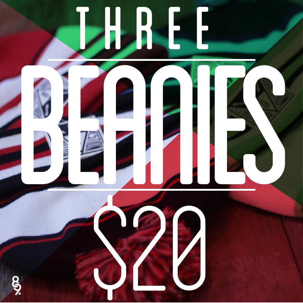 3 Assorted Beanies For $20