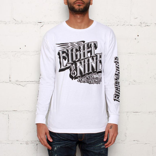pull up classic long sleeve white tee