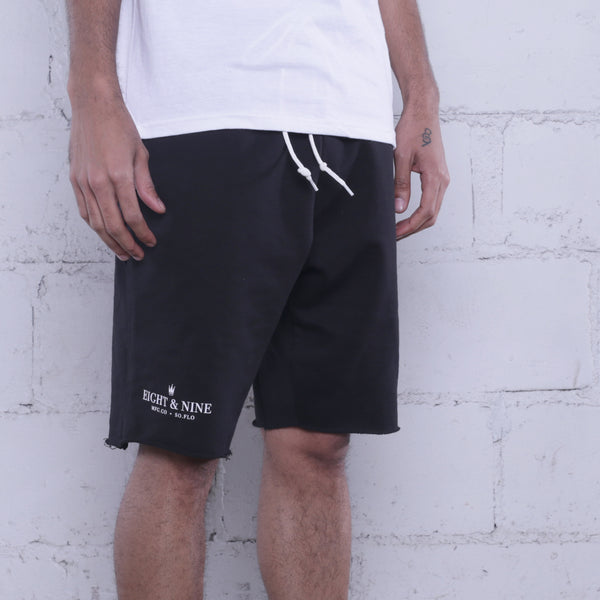 Rolee Premium Terry Shorts Black w/ White