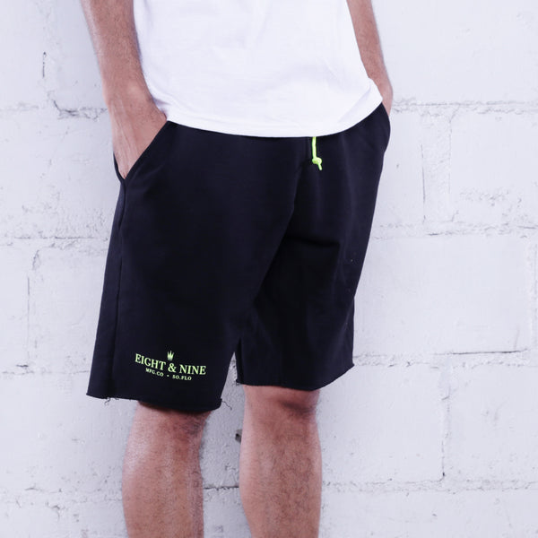 Rolee Premium Terry Shorts Black w/ Volt