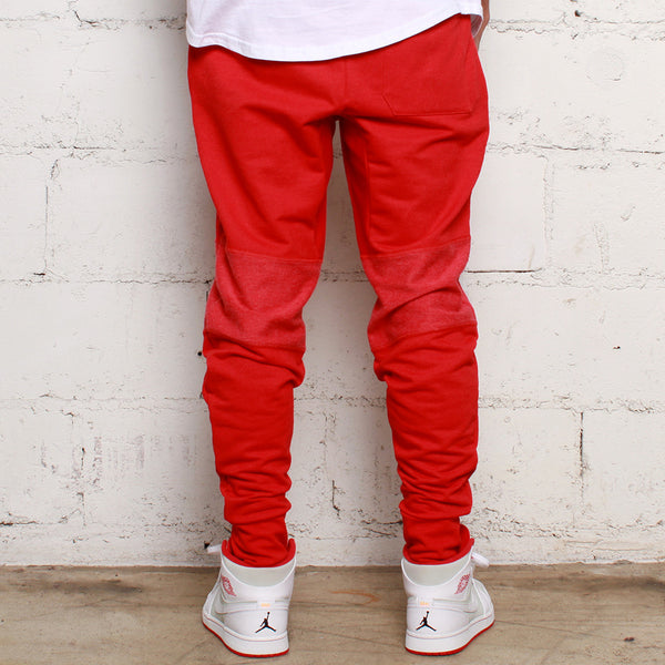 Rudimental Paneled Terry Joggers Red