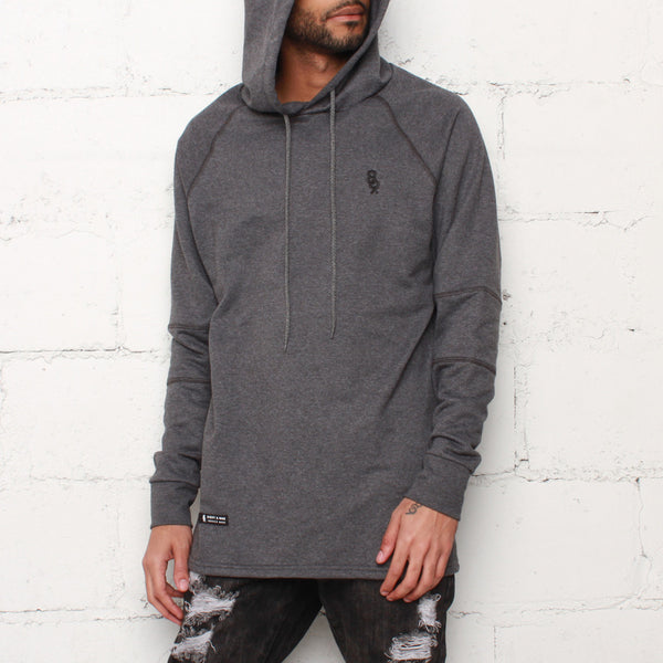 rudimental paneled terry hoodie charcoal elongated hoody (1)
