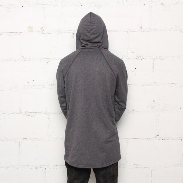 rudimental paneled terry hoodie charcoal elongated hoody (2)