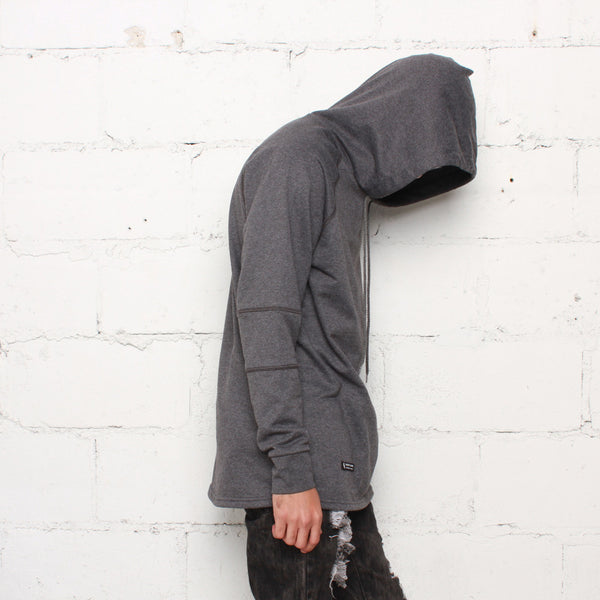 rudimental paneled terry hoodie charcoal elongated hoody (3)