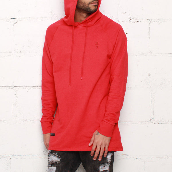 rudimental paneled terry hoodie red elongated hoody (1)
