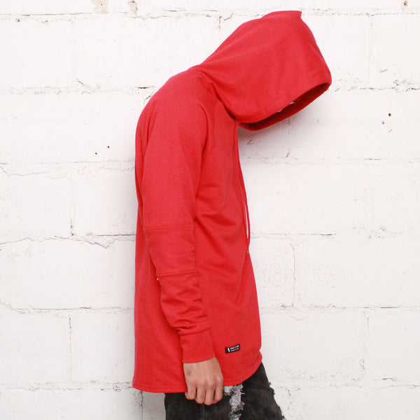 rudimental paneled terry hoodie red elongated hoody (2)