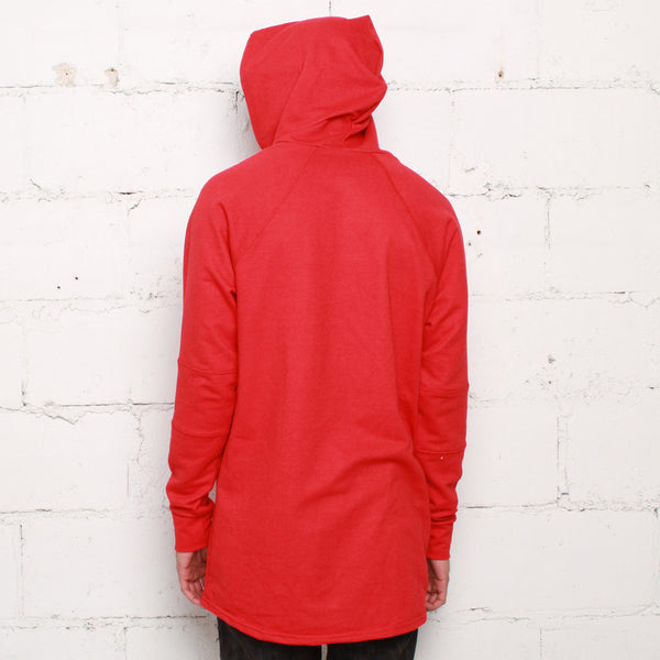 rudimental paneled terry hoodie red elongated hoody (3)