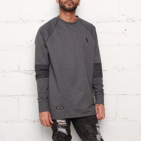 rudimental paneled terry jersey charcoal elongated shirt (1)