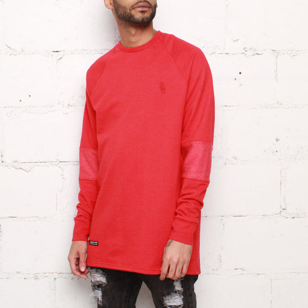 rudimental paneled terry jersey red elongated shirt (1)