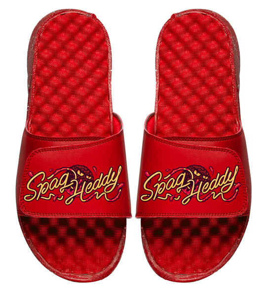 Angry Meatball Unisex Slides Red