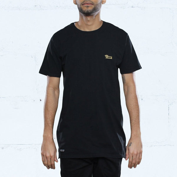 Triple Beam Long Line T-Shirt Black