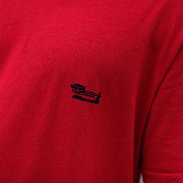 triple beam long line red shirt close up