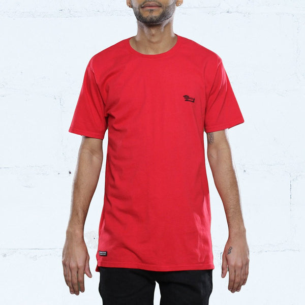 triple beam long line red shirt front