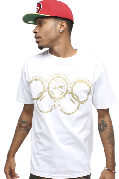 Gold Olympic Rings White T Shirt - 1