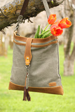 Load image into Gallery viewer, Canvas leather tote bag tassel
