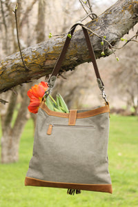 Canvas leather tote bag tassel
