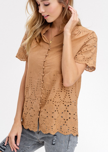 tan lace eyelet button up blouse