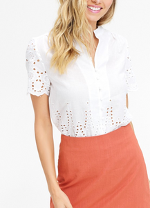 white lace eyelet button up blouse