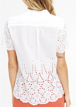 Load image into Gallery viewer,  white lace eyelet button up blouse