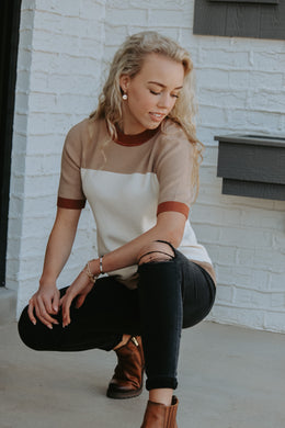 Clay Color Block Top - Live By Nature Boutique