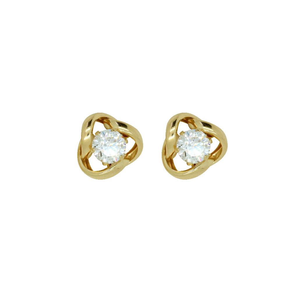 W&D 9ct Y/G Knot Earrings