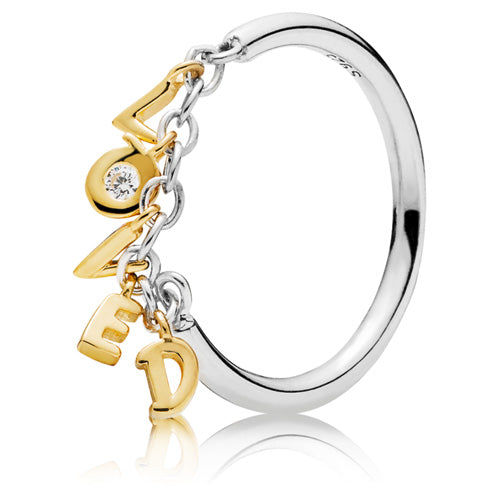 Pandora Shine Loved Script ring