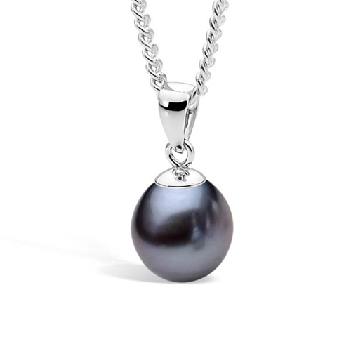 Ikecho Sterling Silver Dyed Black 10-10.5mm FWP Pendant
