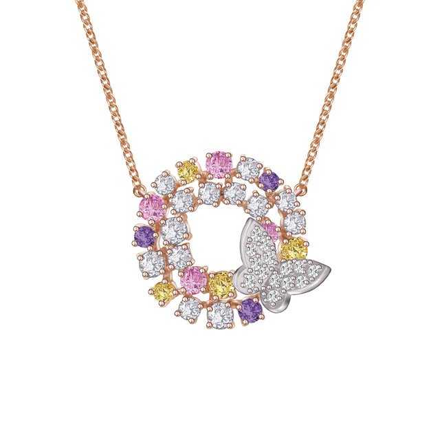 Toscow Necklace R/P & Rose G/P Cubic Zirconia-Length 38+5cm