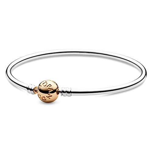 Pandora Moments Silver Bangle w 14kt Clasp