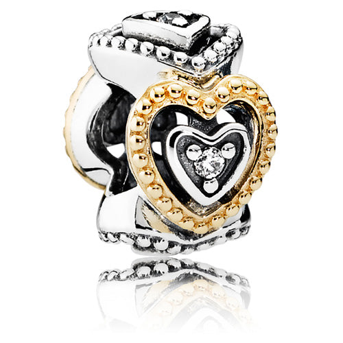 Pandora Celebration of Love Silver Spacer w 14ct Gold & CZ