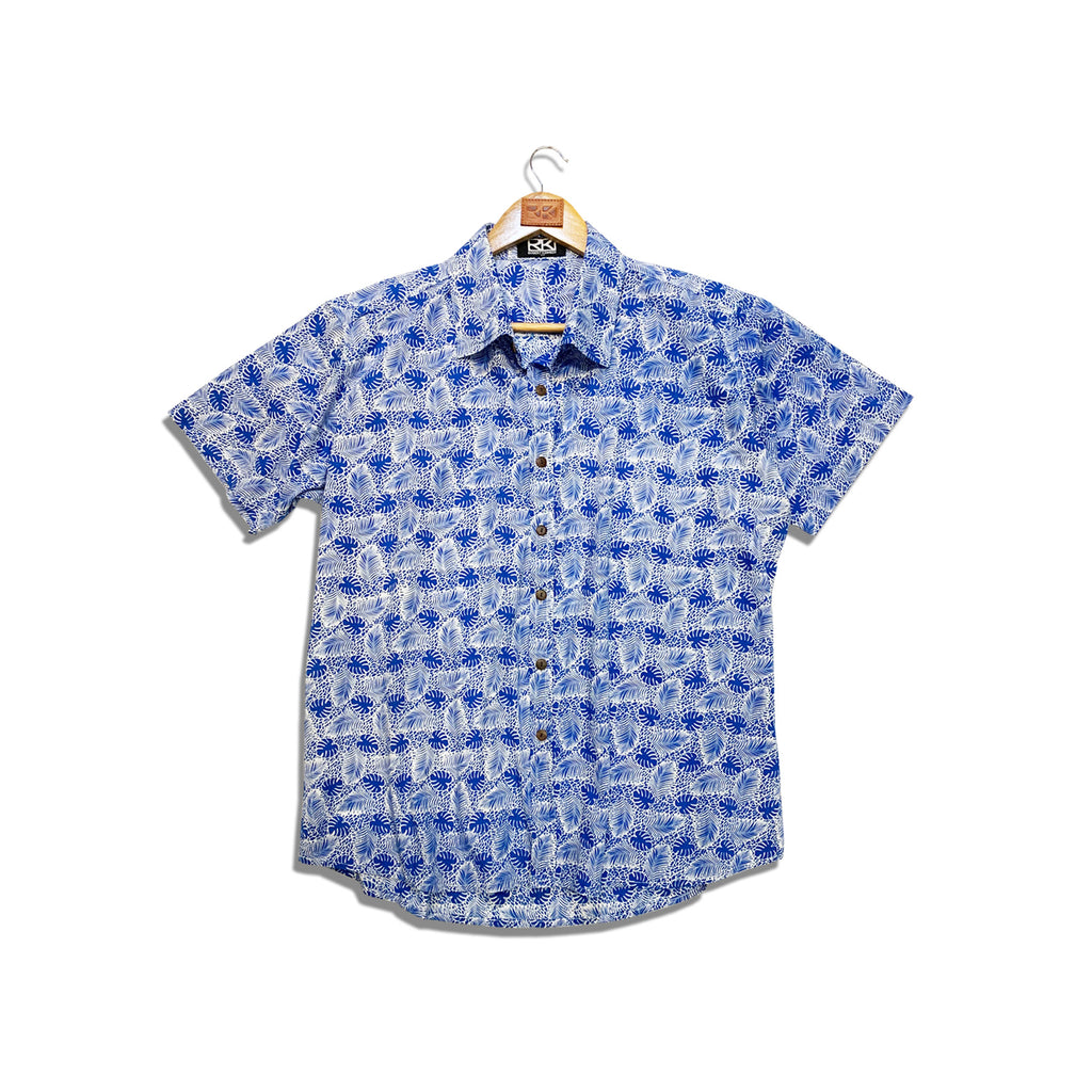 Rk Mens Shirt  Blue Leaf