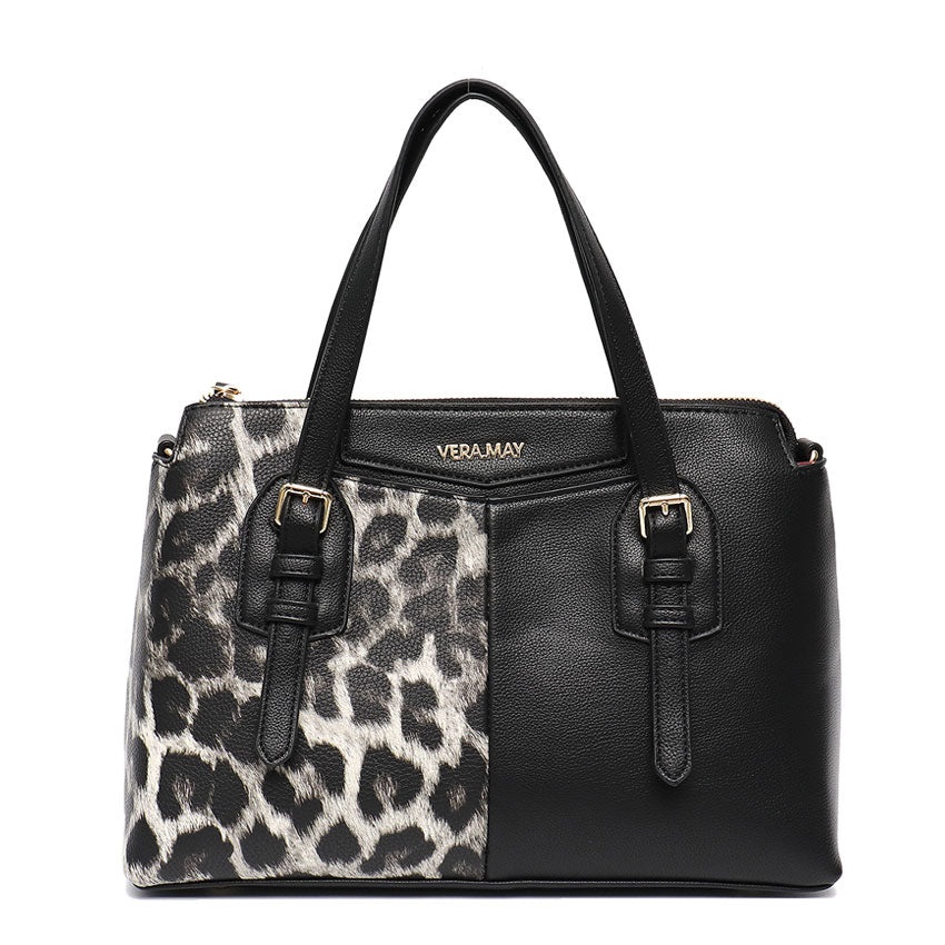 Vera May Penelope Black Leopard Vegan Handbag