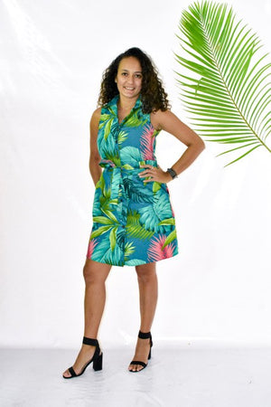 Malia Teal Green fern/Monstera Sleeveless Dress