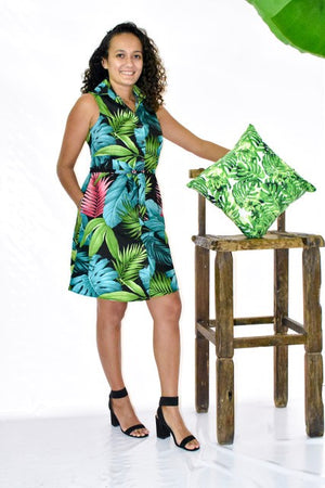 Malia Black Green Fern/Monstera Sleeveless Dress