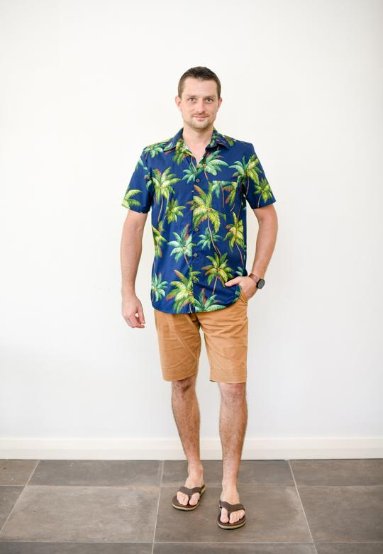 Malia Navy Palm Print Men's Shirt