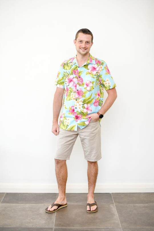 Malia Blue Tropical Print Men's Shirt