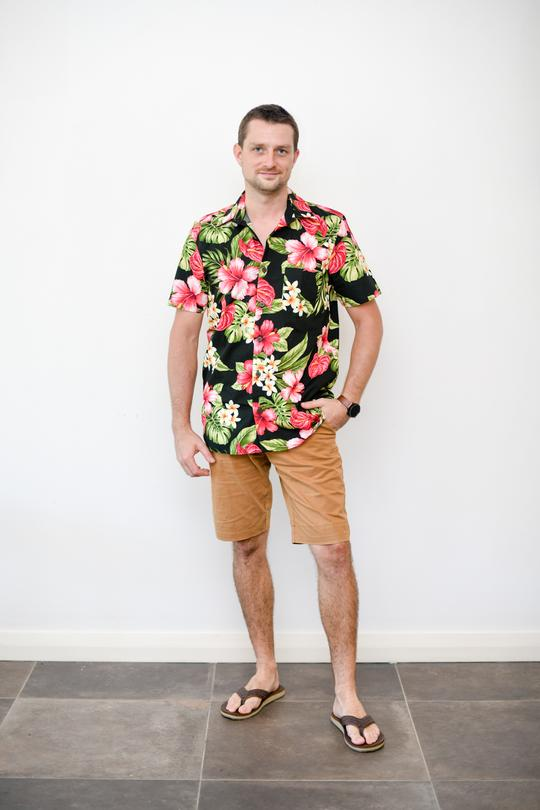 Malia Black Tropical Print Men's Shirt