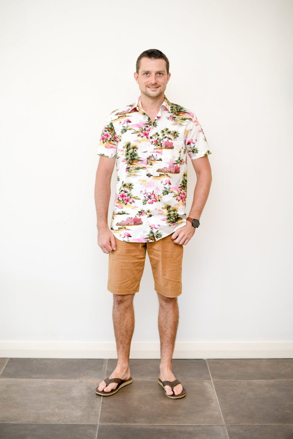 Malia White Flamingo Island Print Men's Shirt